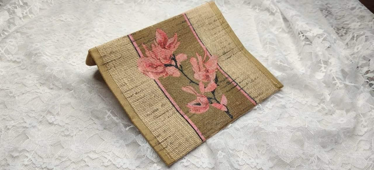 Burlap pouch with Decoupage work