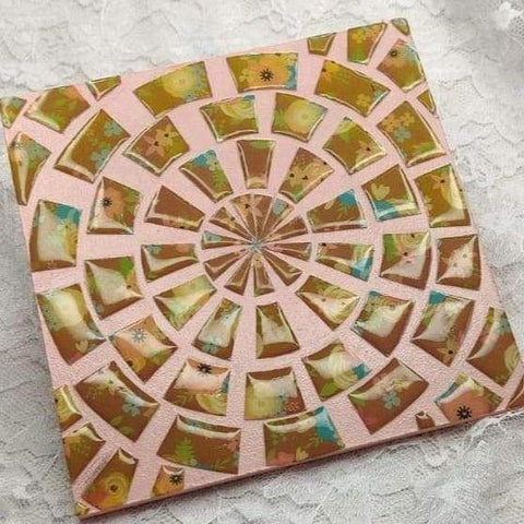 3D Mosaic platter with Decoupage technique