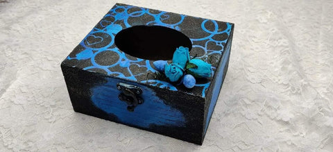 MDF tissue box with Mixed Media art