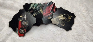 Vintage car theme coaster set