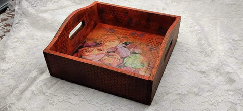 Fall theme MDF tray with mixed media art