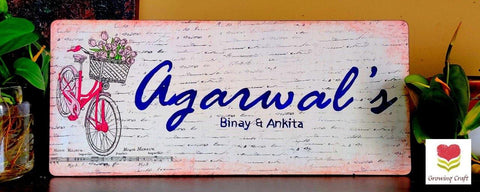 Nameplate with background stamp work