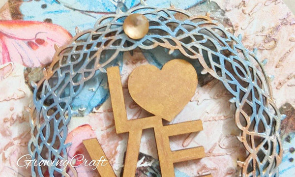 Mixed media wall panel - LOVE THEME