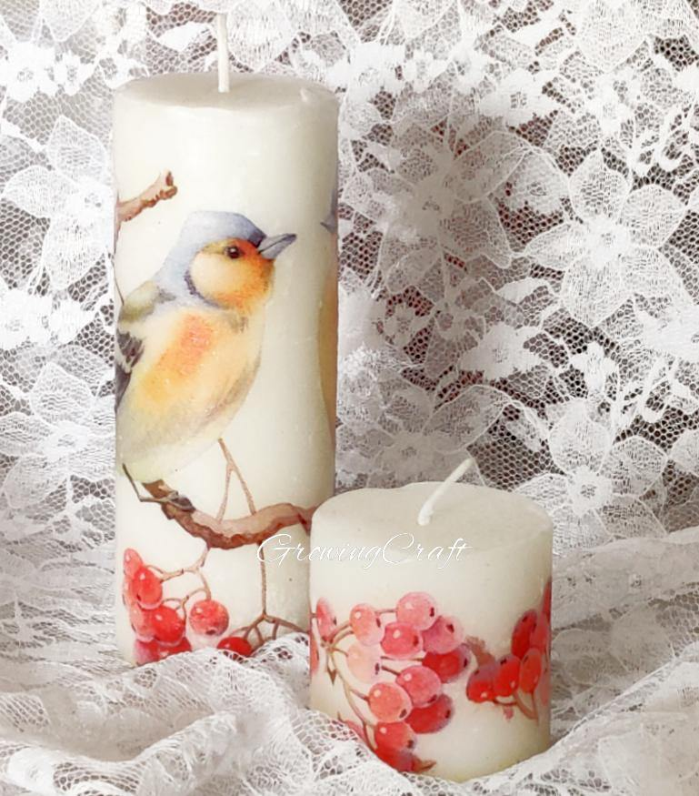 Decoupage candle set