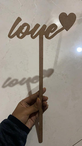 MDF topper with stick (love theme no 1)10 PIECE IN A PACK