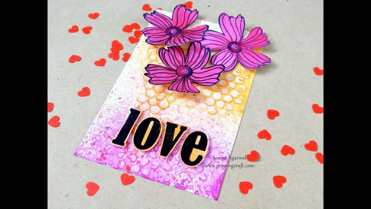 Love card with 3d paper flowers