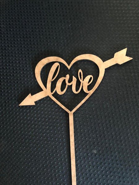 MDF topper with stick (heart shape no 1)10 PIECE IN A PACK