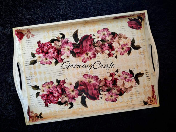 Customized curved handle tray in gold touch floral theme