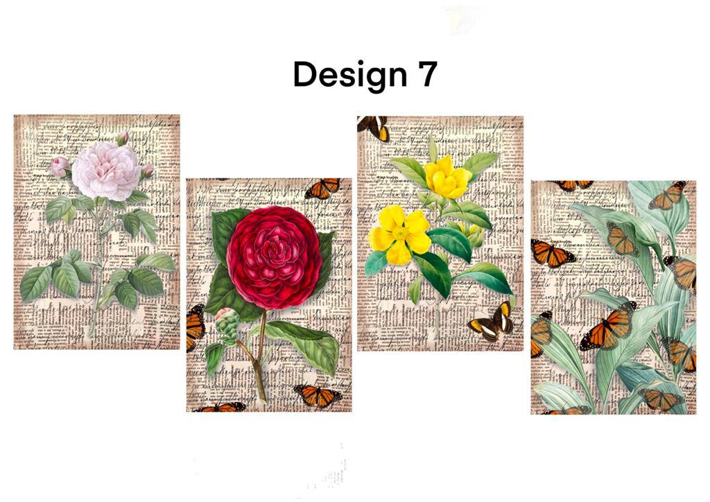 Decoupage papers (design no -7) pack of 4