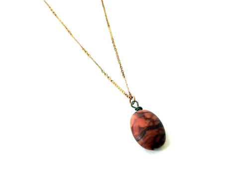 Amber Agate River Stone Necklace