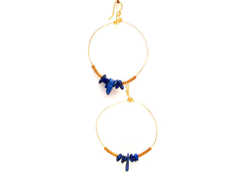 Lapis Lazuli & Gold Brass Hoop Earrings