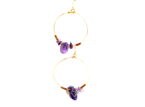 Amethyst & Gold Brass Hoop Earrings