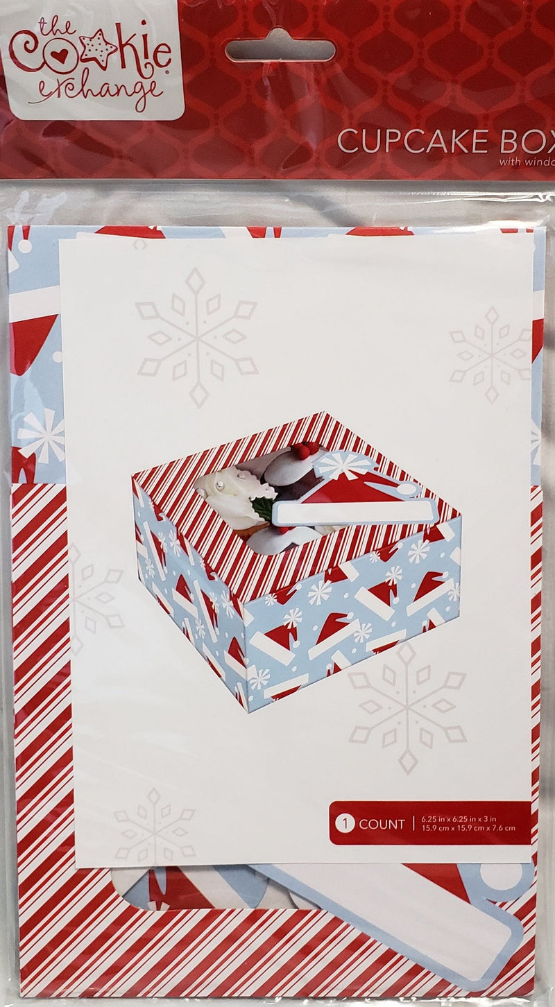 Medium Window Top Cupcake Box - Santa Hat