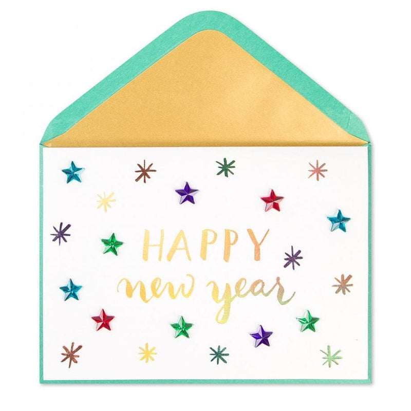 Colorful Gem Stars Card New Years Card