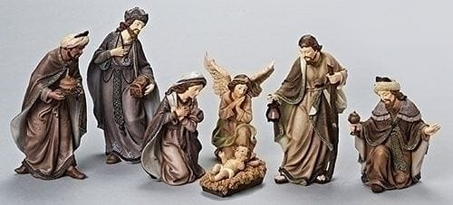 7 Piece 12 inch Earthtone Nativity