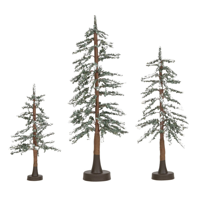 Snowy Lodge Pines Set of 3