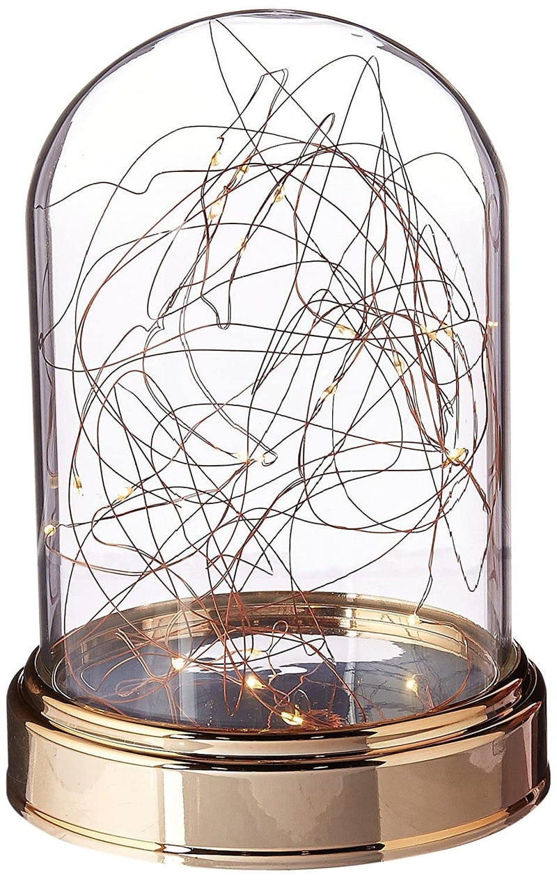Everlasting Glow Clear Glass Cloche - Copper