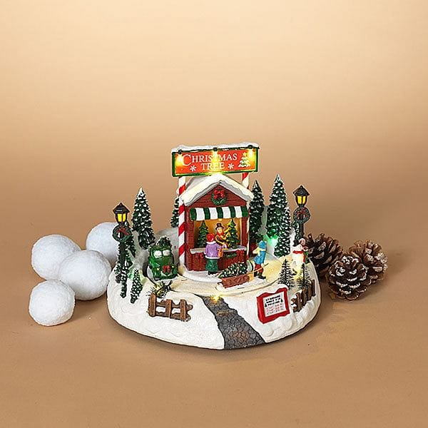 10 Inch Lighted Musical Holiday Tree Farm with Moving Scene