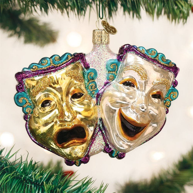 Old World Christmas Comedy & Tragedy Glass Blown Ornament