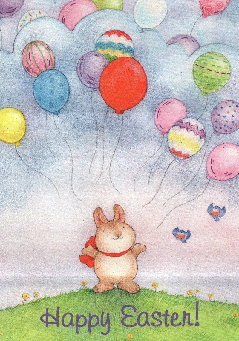 Bunny w/ Balloons Easter Greeting Card