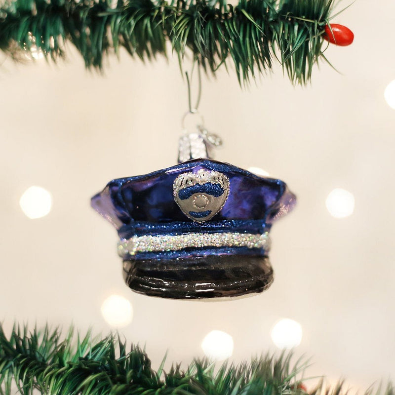 Old World Christmas Police Officer's Cap Glass Blown Ornament
