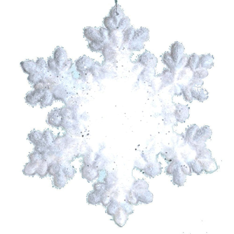 8 inch Flocked Led Snowflake - With Batteries