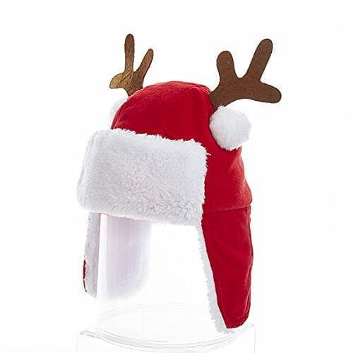 7 inch Plush Red Kids Hat With Antlers