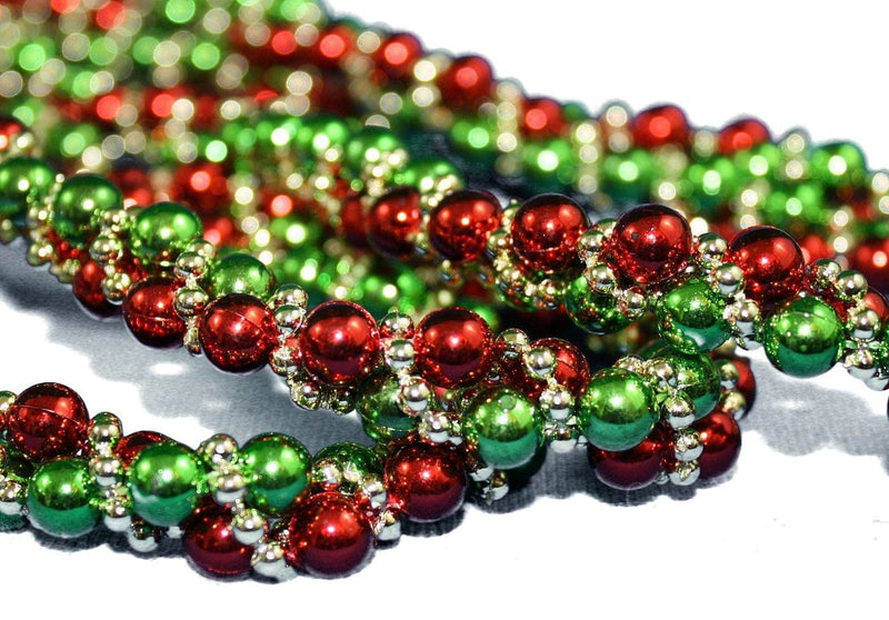 Red, Green and Gold Bead Twisted Garland