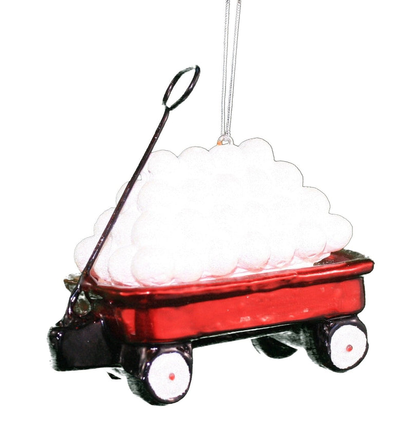 Gls Red Wagon W/Snowballs Ornament - 3.75""