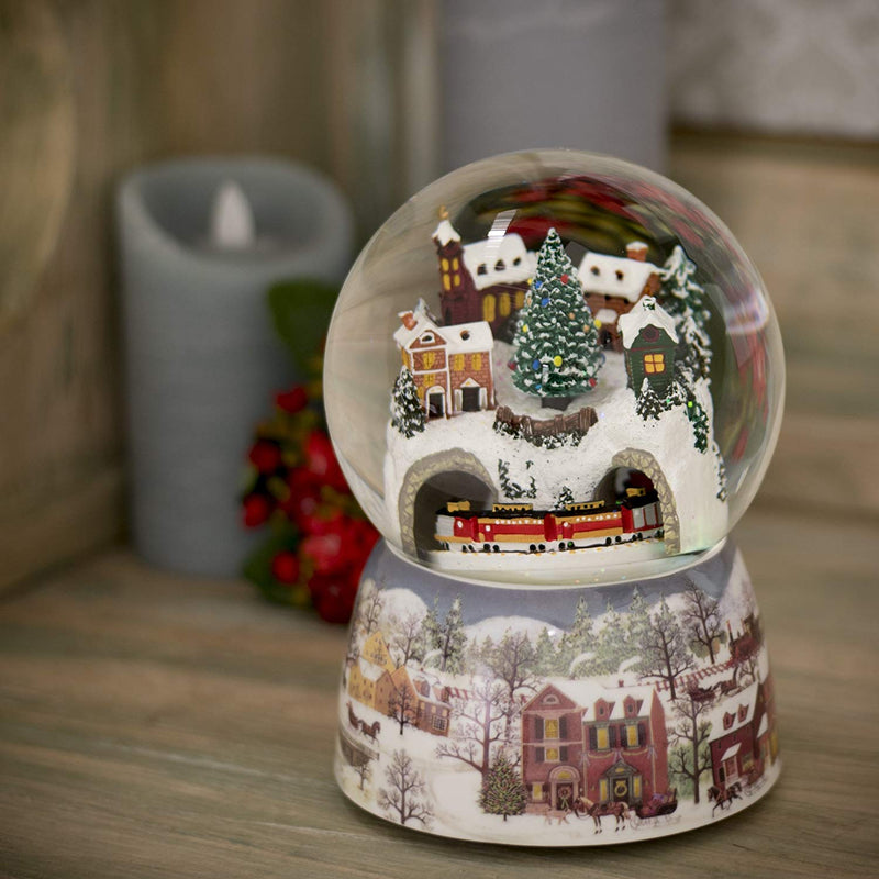 Musical Revolving Train Dome Globe