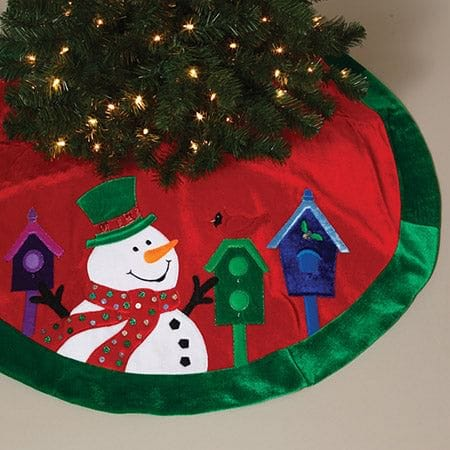 "48"" Velvet Tree Skirt with Snowman"