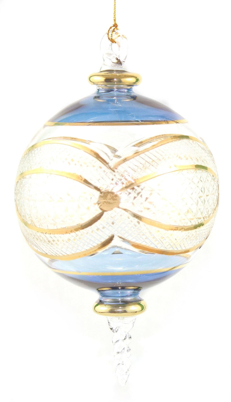 Gold Etched Ball Glass Ornament  Blue