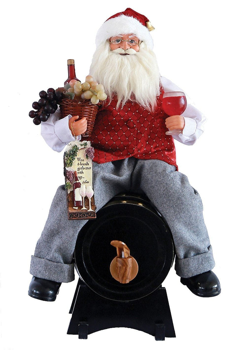 Santa On Wine Barrel - 14.5""