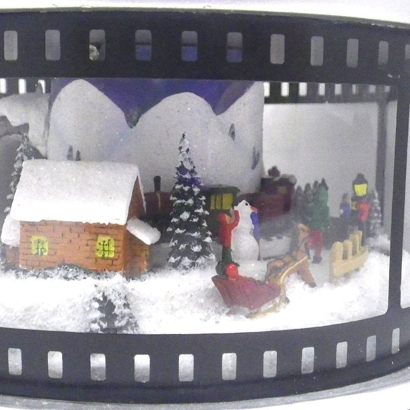 6.5 inch Led Movie Wheel Figurine W/Scene Lights/Rotate Plays 8 Christmas Tunes By Roman