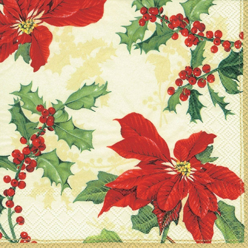 Floral Christmas Cocktail Napkin - cream
