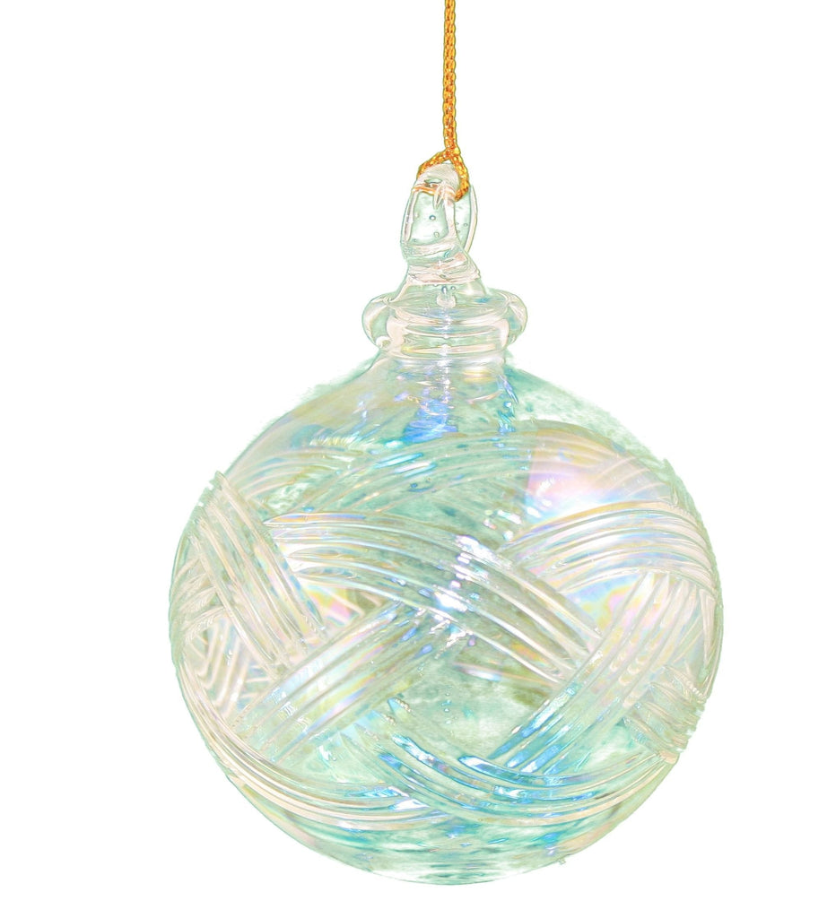 Clear Iris Crystal Ball Egyptian Glass Ornament - Shelburne Country Store