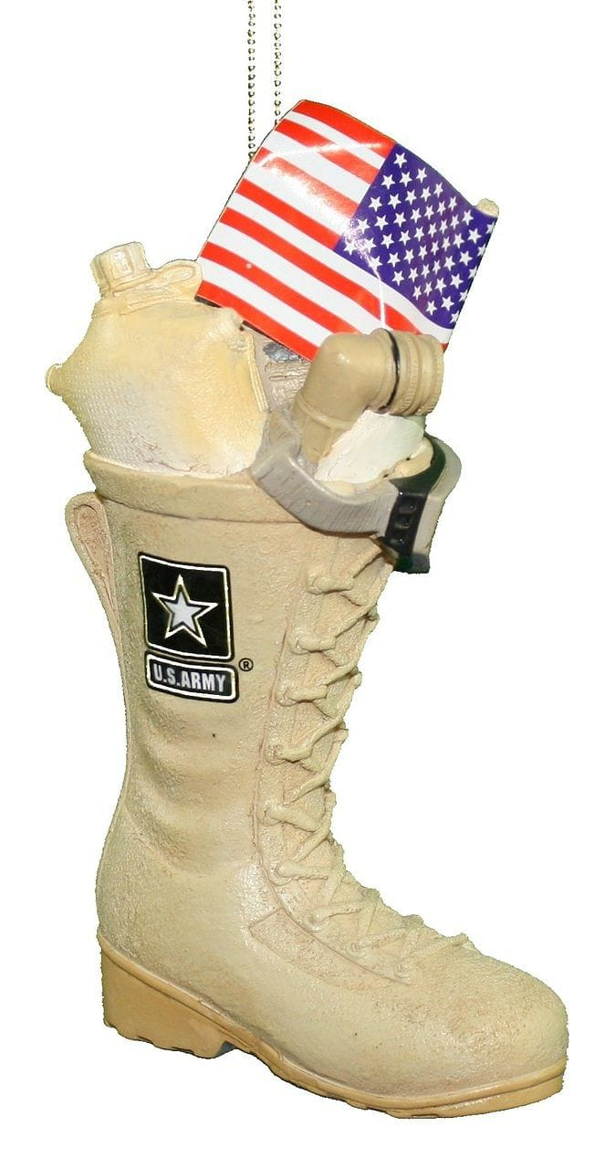 Army Boot With Usa Flag Ornament