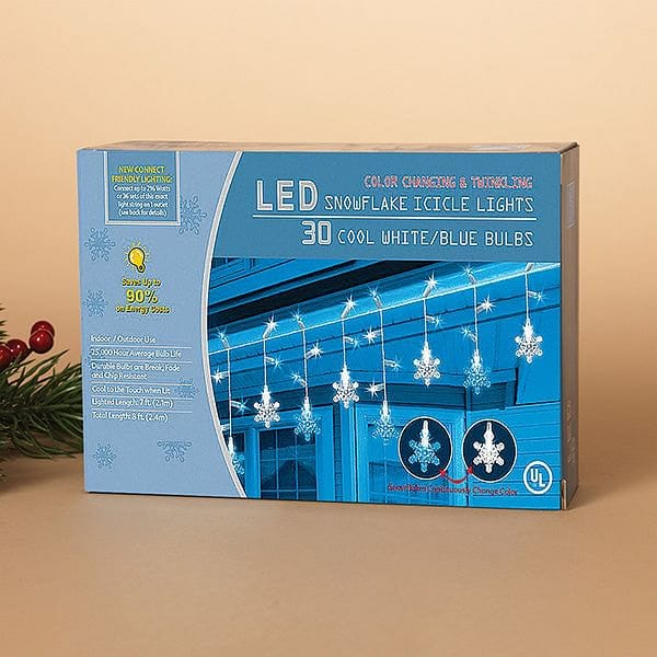 30 Color Changing and Blinking LED Snowflake Light Set