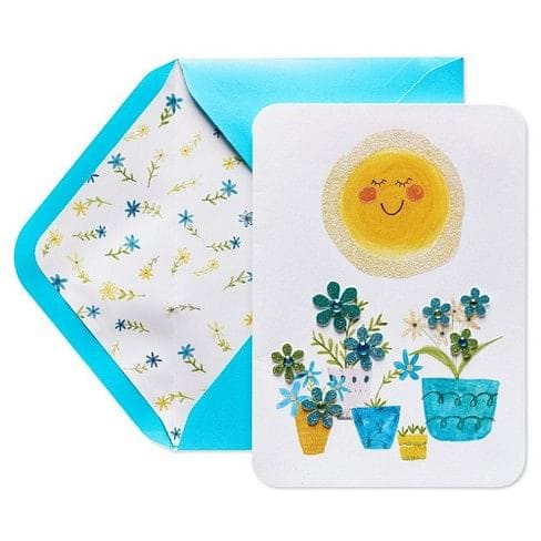 Sun and Potted Plants Mothers Day Card
