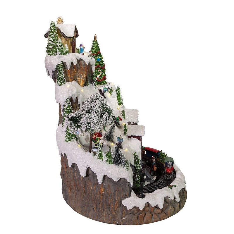 Battery-Operated Musical LED Mountain Village Table Piece