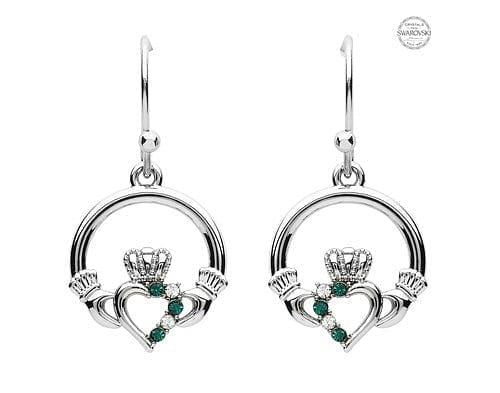 Platinum Plate Green and White Claddagh Earrings Swarovski