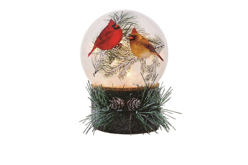5 Inch Lighted Glass Ball - Christmas Cardinals
