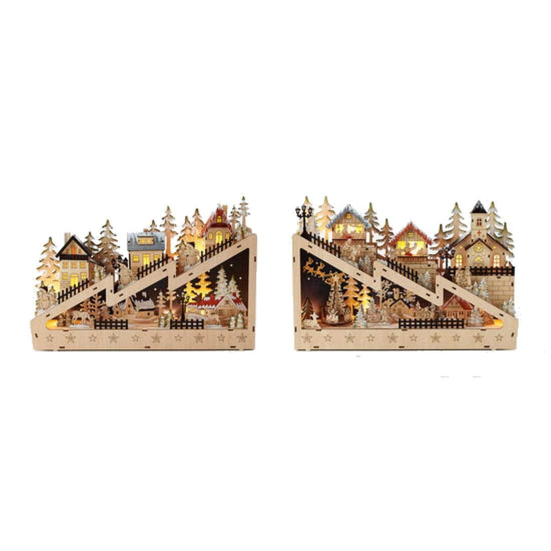 Wooden Mountain Town Lighted 2 Piece Set