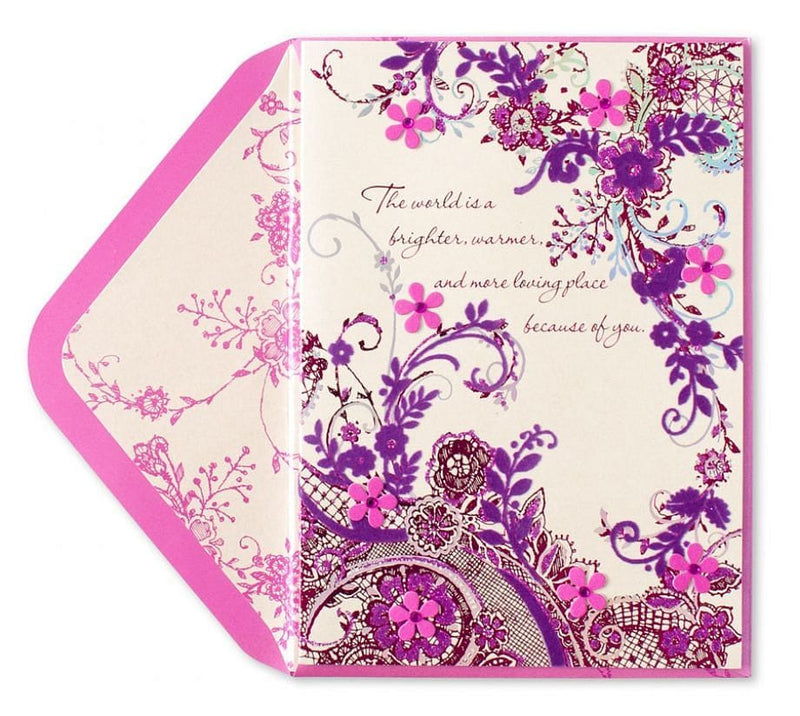 Flocked Lace and Tip-On Flowers Mothers Day Card