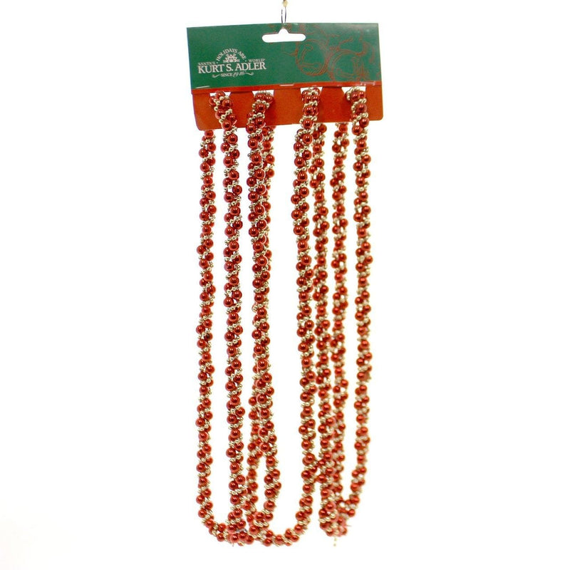9' Red/Gold Beads Twisted