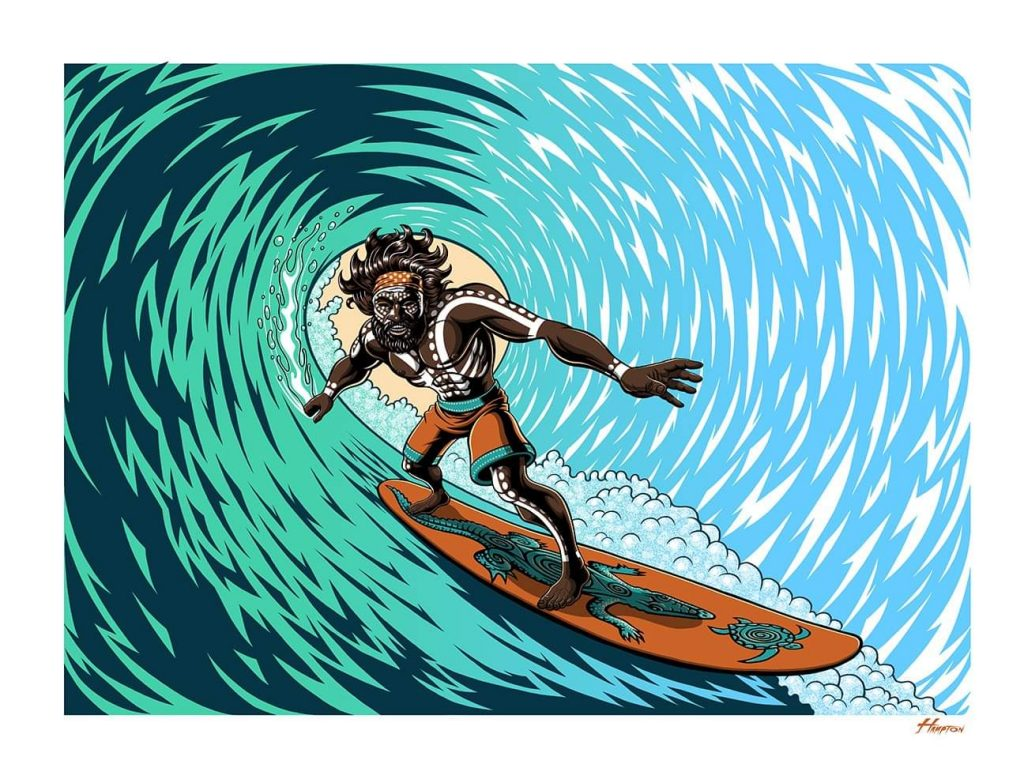 'Dreamtime Surfing' Art Print