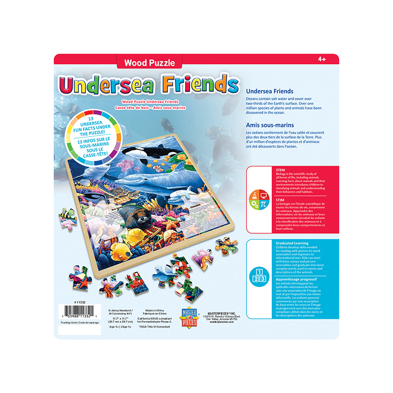 Masterpieces Puzzle Wood Fun Facts Undersea Friends Puzzle 48 pieces