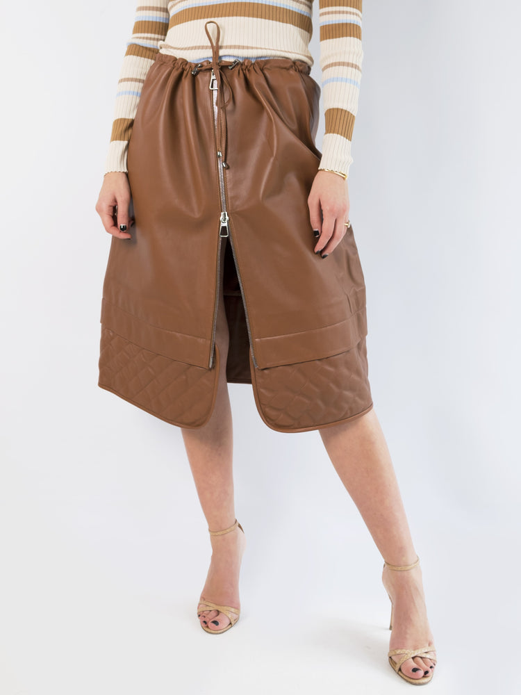 DoDo Bar Or - Brown Piki Quilted Leather Skirt