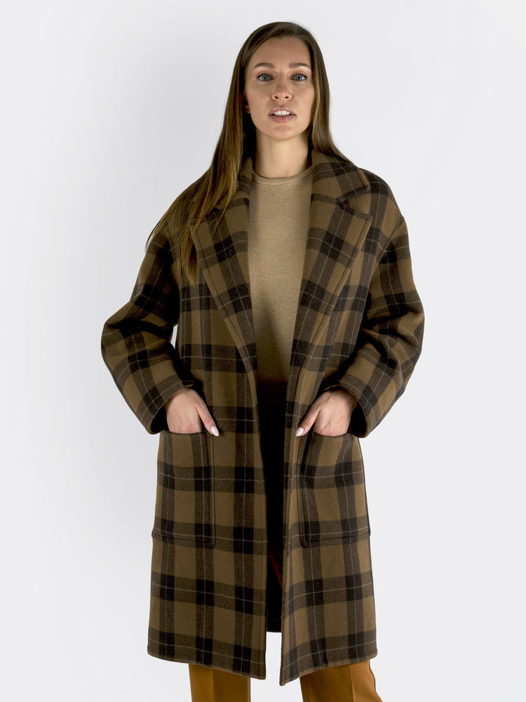 VINCE - Checked Wool-Blend Coat