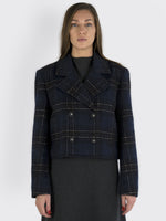 Tibi - Short Checked Jacke
